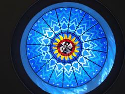 Stained Glass Dome Window blue red yellow