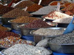 seeds in bowls on market stall