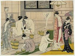 group of Women in Bathhouse, antique japanese drawing