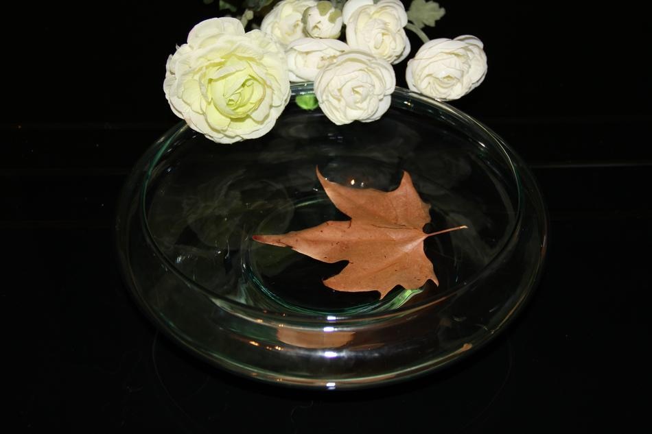 bouquet of white roses and autumn maple leaf in water