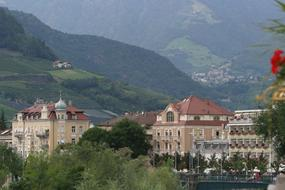 Merano city in the background of mountains in Italy