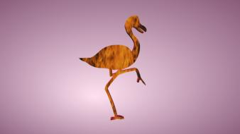 silhouette of bird with long legs at purple background, digital art