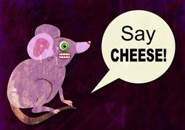 cartoon mouse with funny message