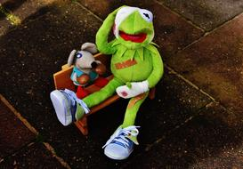 Kermit frog and Mouse in boxing gloves, Stuffed toys
