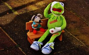 Kermit with a toy mouse sits on a bench