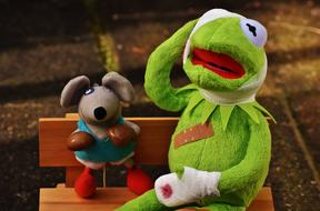 Kermit frog and Mouse on bench, soft toys in Boxing gloves