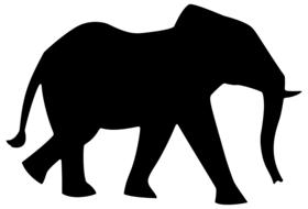 black silhouette of an elephant on the white background