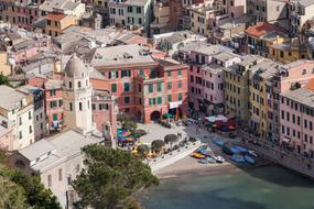 scenic old town at sea, top view, italy, liguria, Cinque Terre, vernazza
