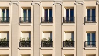 classical facade with balconies, detail, Spain, Madrid