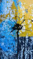 black blot on the yellow-blue wall