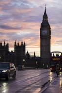view of the sights of london at dusk