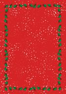 red christmas template with holy leaves border