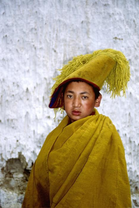 buddhist Monk, asian Child boy in yellow clothing