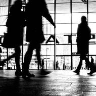 people silhouettes in the station in Rotterdam