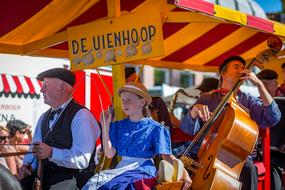 folklore musicians performing on West Frisian Market, netherlands, Schagen