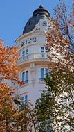 tower of historical building, detail, Hotel ritz, Spain, Madrid