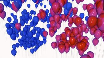 lot of blue and red Balloons, background, digital art