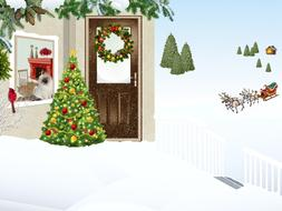 clipart of painted christmas and winter landscape