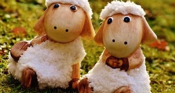 two funny Sheep, Ceramic garden decoration