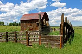 Old Barn behind wooden fence on meadow at summer, usa, Colorado