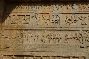 wall of Hazara Rama Temple in Hampi, India