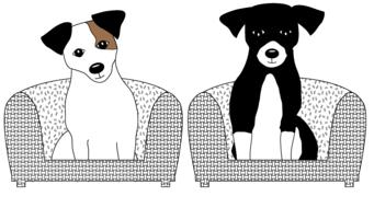 drawn jack russell terrier puppies sitting on armchairs