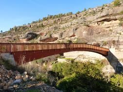 wooden bridge in Margalef, Spain