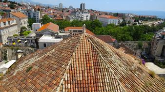 roof view of old city at summer, croatia, split