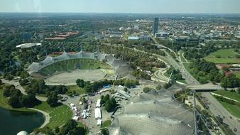 panorama of the olympic center in Munich