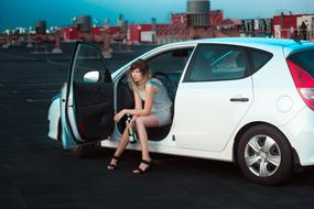 Girl with Alcohol in white Auto