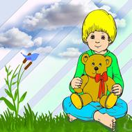boy garden clouds toy drawing