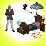 urniture bedroom room person 3d drawing