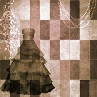 background scrapbooking paper dress drawing