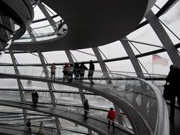 people in glass dome of Reichstag building, Germany, Berlin