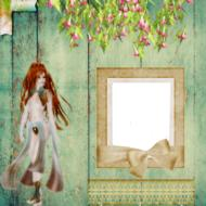 page cover scrapbooking girl drawing