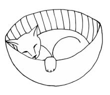 cat feline sleeping basket drawing