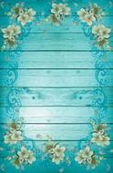 turquoise blue frame flowers drawing