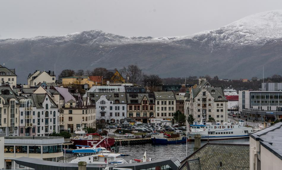 Coastal town an snow-capped Mountains, Norway, Alesund