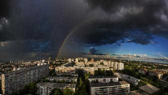 thunderclouds and rainbow over Zagreb