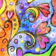 abstract pattern colors wall drawing
