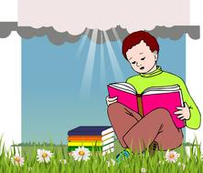 boy reading book relaxation drawing