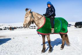 Mongolia Winter Kid and horse