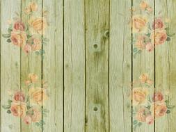 wooden wall green roses drawing