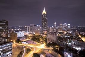 Beautiful Atlanta city view with lights in Georgia, America