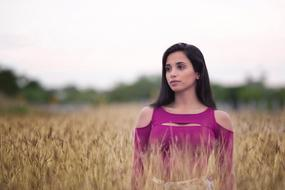 photo of a girl in a purple dress on a wheat field