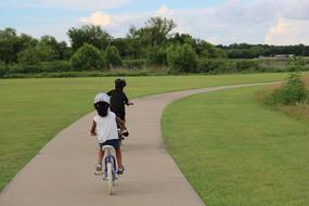 children ride bicycles in the park