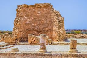antique ruins in an archaeological park in Paphos, Cyprus