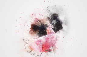 watercolor painted pink dove