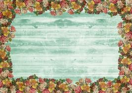 on wood vintage roses wall