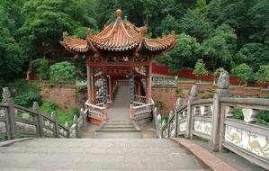 stairway and traditional pavilion on Leshan Bridge, China